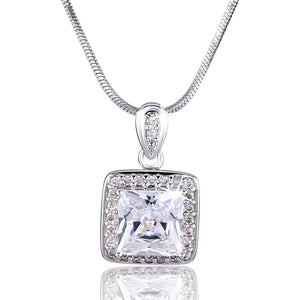 Princess CZ Zirconia Jewelry for Women Gold-color Pendants Quartz Crystal Purple Pendant Necklace P003/P004