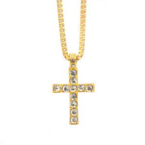 Hip Hop Cross Pendant Necklace Men Women Egyptian Jewelry Iced out Gold Silver Bling Rhinestone Crystal Cross Punk Necklaces