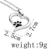 Hollow Pet Paw Print Necklaces Cute Animal Dog cat Heart Charm Black Enamel Necklace