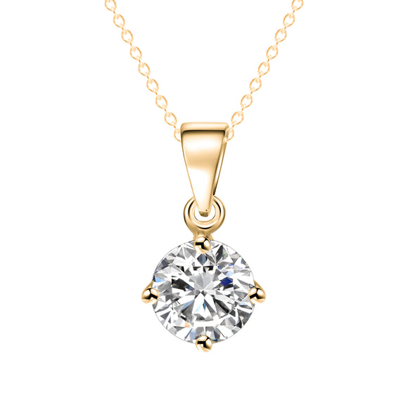 Silver and Gold Color Round Shape Cubic Zirconia Pendant Necklace