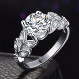 Silver and Gold Color Leaf Cubic Zircon Ring