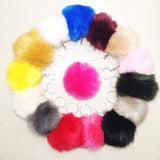 Fluffy pom pom keychain ring for women bags or car - Fashion faux rabbit fur pompom key chains jewelry accessories - 16-colors