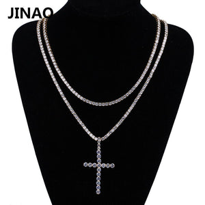 JINAO Cross Pendant Necklace Micro Pave CZ Stones Egyptian Style Prayer Hip Hop Pendants Necklace Men's Jewelry