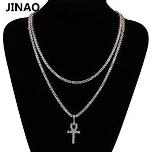 Hip Hop Ankh Cross Pendant Necklace Micro Pave CZ Stones Egyptian Style Prayer Pendants Necklace