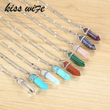 Hexagonal Column Quartz Necklaces Pendants Vintage Natural Stone Bullet Crystal Necklace For Women Jewelry