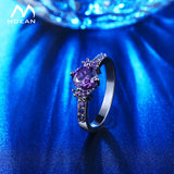 White Gold Color Rings For Women Purple AAA Zircon Jewelry - 23 color variations