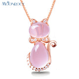 Rose Gold Color Cute Cat Ross Quartz Pink Opal Jewelry Necklace
