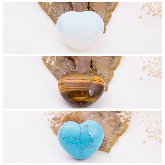 NATURAL STONE Amethyst Opal Rose Tiger Eye Quartz Fluorite 30mm Heart Shape Turquoise Lapis Crystal Chakra Carved Healing Reiki
