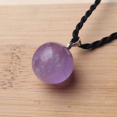 Natural Amethyst Quartz crystal Ball Pendant Necklace Healing natural stones and minerals