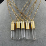 Natural Clear Quartz Crystal Pillar Point Glued Gold Bullet Shell Cap Pendant Necklace Jewelry Approx 45*10 mm