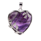 Natural Purple Amethyst Quartz Crystal Tumbled Chakra Stone Reiki Healing Stones Heart-Shaped Pendant Diy Necklace