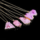 New  Irregular Natural Stone  Quartz  Crystal Necklace Slice Pendant Chain Necklace Jewelry