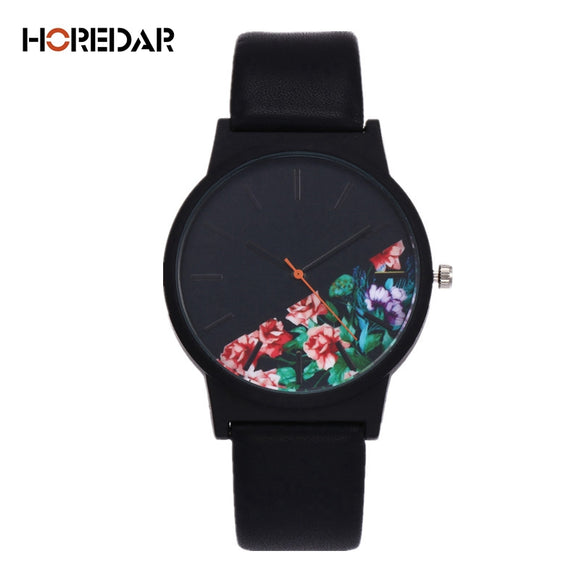Top Brand Floral Pattern Casual Quartz Watch Women Clock - 4-color variations