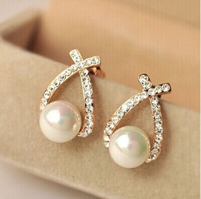 Crystal Pearl Stud Earrings Earrings for Women