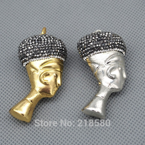 P15080504  Egyptian pharaoh Pendant Charm with Rhinestone Pave  Silver or Gold Electroplated