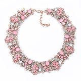 PPG&PGG Rhinestone Flower Necklaces Women Fashion Crystal Jewelry Charm Choker Statement Bib Collar Necklace