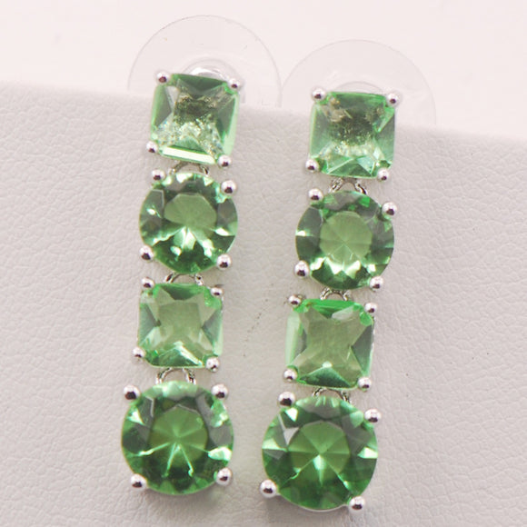 Peridot Woman 925 Sterling Silver Crystal Earrings
