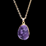 Fashion natural stone gold purple blue crystal pendant necklace summer jewelry gift
