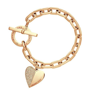 Link Chain Polishing Crystal Gold Sliver Rose Gold Wrist Bracelet with trendy heart - 3-colors