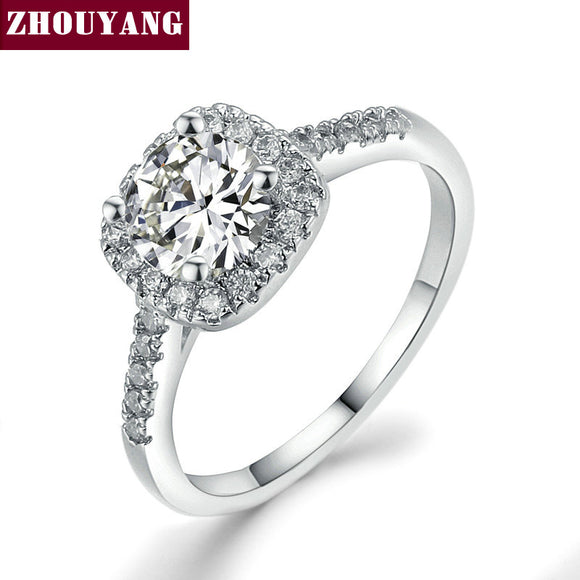 Silver Color Exquisite Bijoux Fashion Square Ring Made With Cubic Zirconia Jewelry