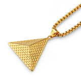 Top Quality Hip hop Punk Style Pyramid Necklaces for Women/Men Fashion Gold Color Stainless Steel Charm Necklace Egyptian Jewelry