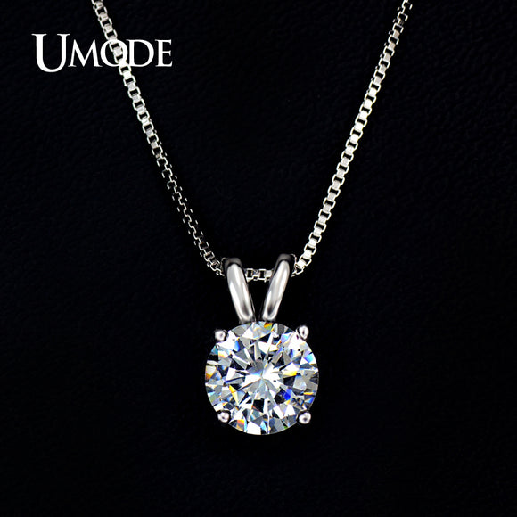 Classic 2ct Solitaire Heart Pendant Necklace