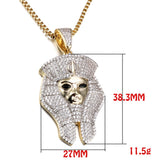 Egyptian Pharaoh Necklaces Micro Paved AAA Cubic Zirconia Fashion Jewelry Men Classic Ancient Egypt Jewels Gold Color