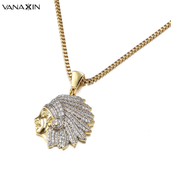 Egyptian Headset Men Necklace Fashion Gold Color AAA Zircons Iced Out Micro Pave Stone Jewelry Gift Icy Necklaces
