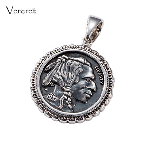 Vercret Native American Indian Head Buffalo Nickel Necklace Pendents Solid Turquoise 925 Silver Pendent For Gift Jewelry New