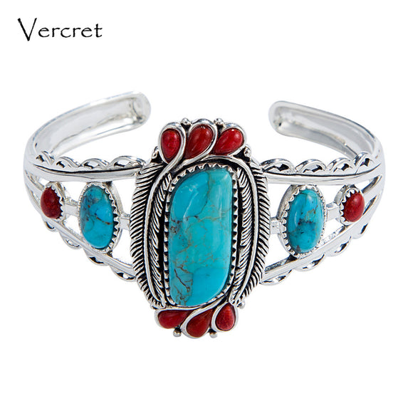 Vercret Native American Indian Natural 925 Silver Turquoise Stone Bangles For Women Wedding Vintage Coral Fine Jewelry Bracelet
