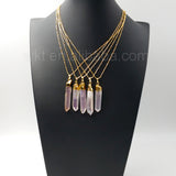 "Healing Angel Aura Quartz Necklace for Women Jewelry,Natural Quartz Angel Color with 18"" Gold Chain Necklace"