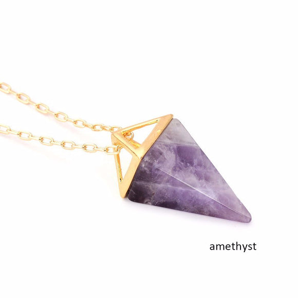 Purple Quartz Stone Pyramid Necklace Bohemian  Crystal Gold Layer Boho Necklace Jewelry Gift For Her -