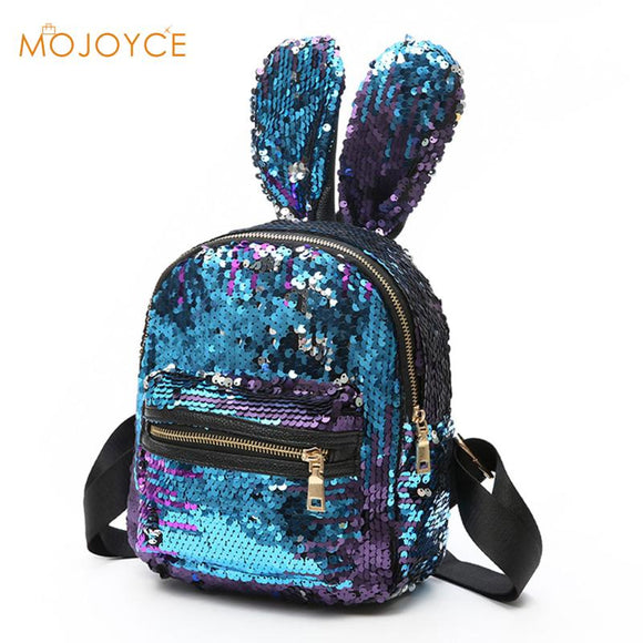Bling Sequins Backpack Cute Big Rabbit Ears Double Shoulder Mini Backpacks Children Girls Travel Bag -4-colors