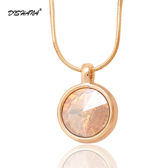Women Fashion Necklaces & pendant Jewelry Classic Necklace Pendule Gold-color Austrian Crystal Pendants Jewelry Making(X0217)