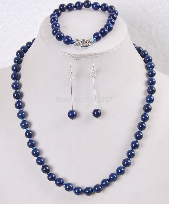 Women Gift word Love women Fashion Jewelry Jewelry set 8mm Egyptian Lapis Lazuli Round Beads gem necklace bracelet earrings