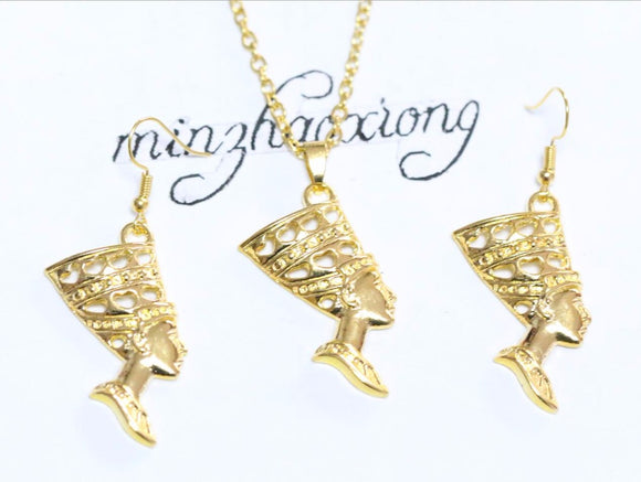 Jewelry Set Gold Egyptian Egypt Queen Nefertiti Charms Dangle Earrings & Pendant Necklace Sets Gift