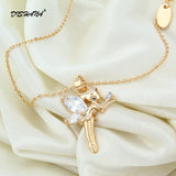 brand My little angel crystal jewelry charms choker necklace for girls short necklace pendants for women fashion jewelry (X0060)