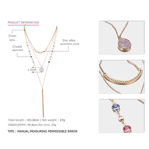 Statement tassel necklace women multilayers chain choker necklaces pendant Jewelry with quartz