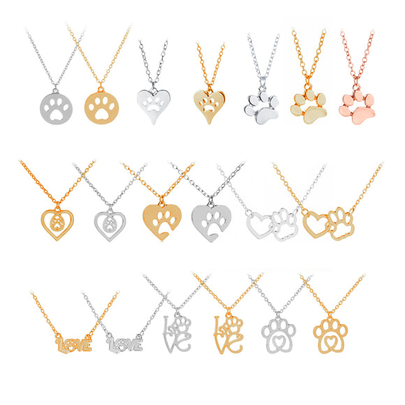 Pet paw print necklaces dog cat lover
