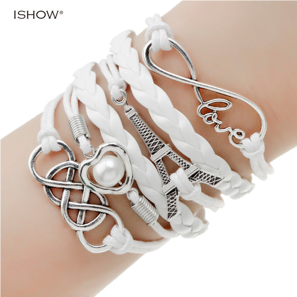 new fashion jewelry infinite double leather multilayer Charm  bracelet - 19 colors