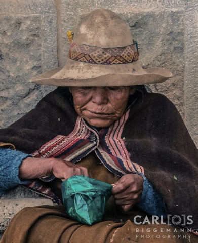 Bolivian peasant, eating Coca leaves