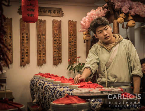 Chinese man, with pots of ceramic, Shanghai China
