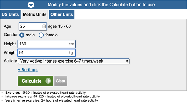 Calorie Calculator Resutls