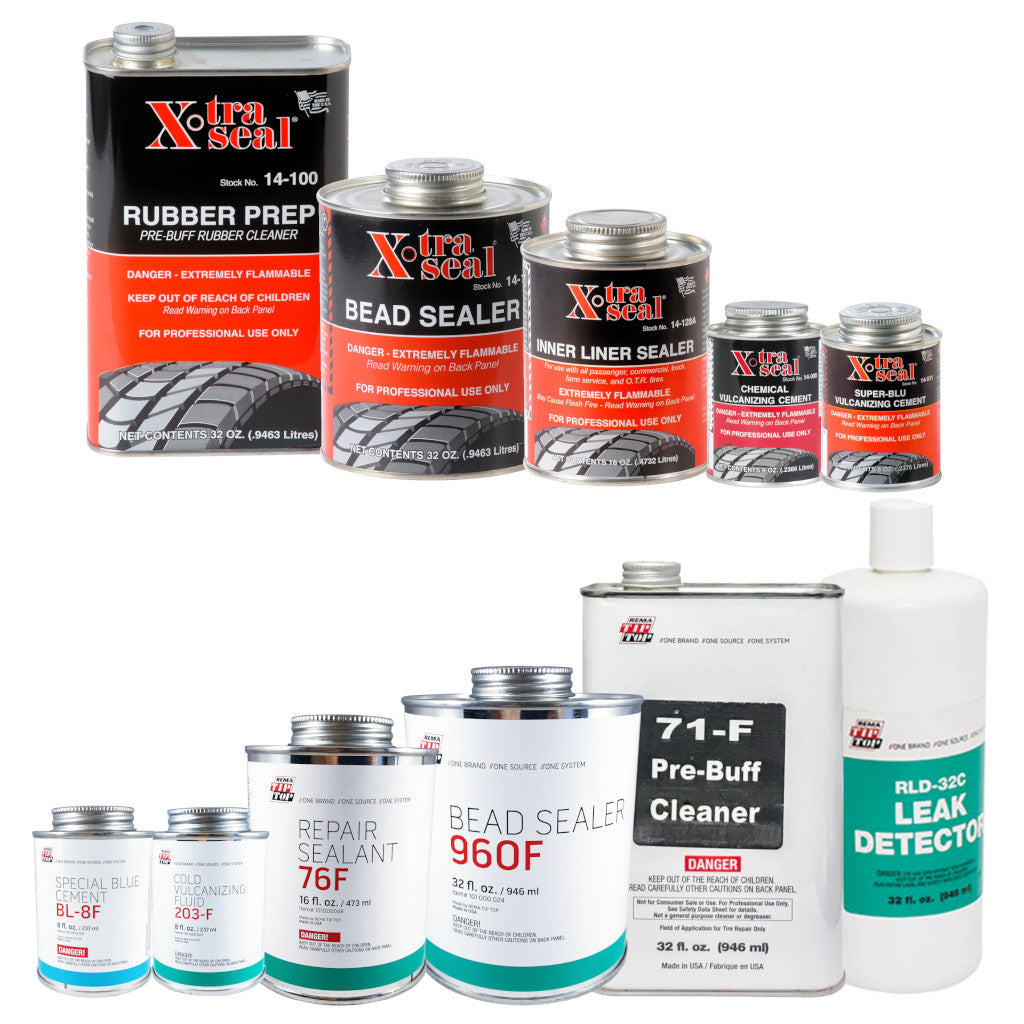 xtra seal and rema cleaner fluid pre-buff, bead sealer, inner liner sealer, chemical vulcanizing cement, blue cement, repair sealant, and leak detector