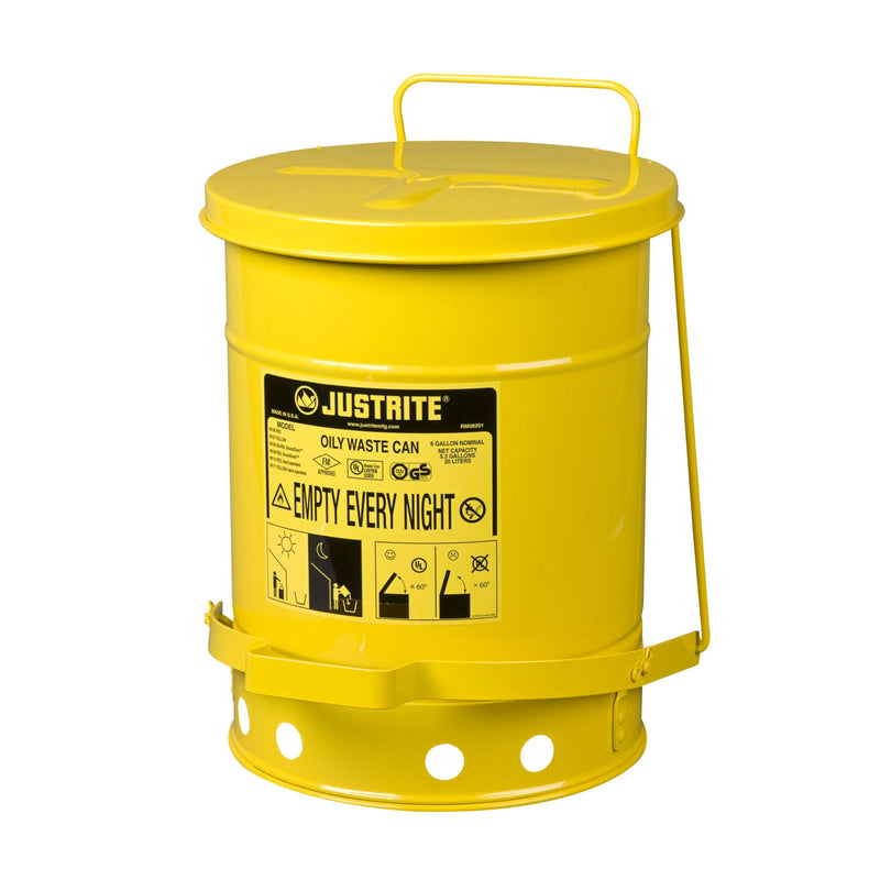 Metal Oily Waste Can (6 Gallon) (Justrite 09101)