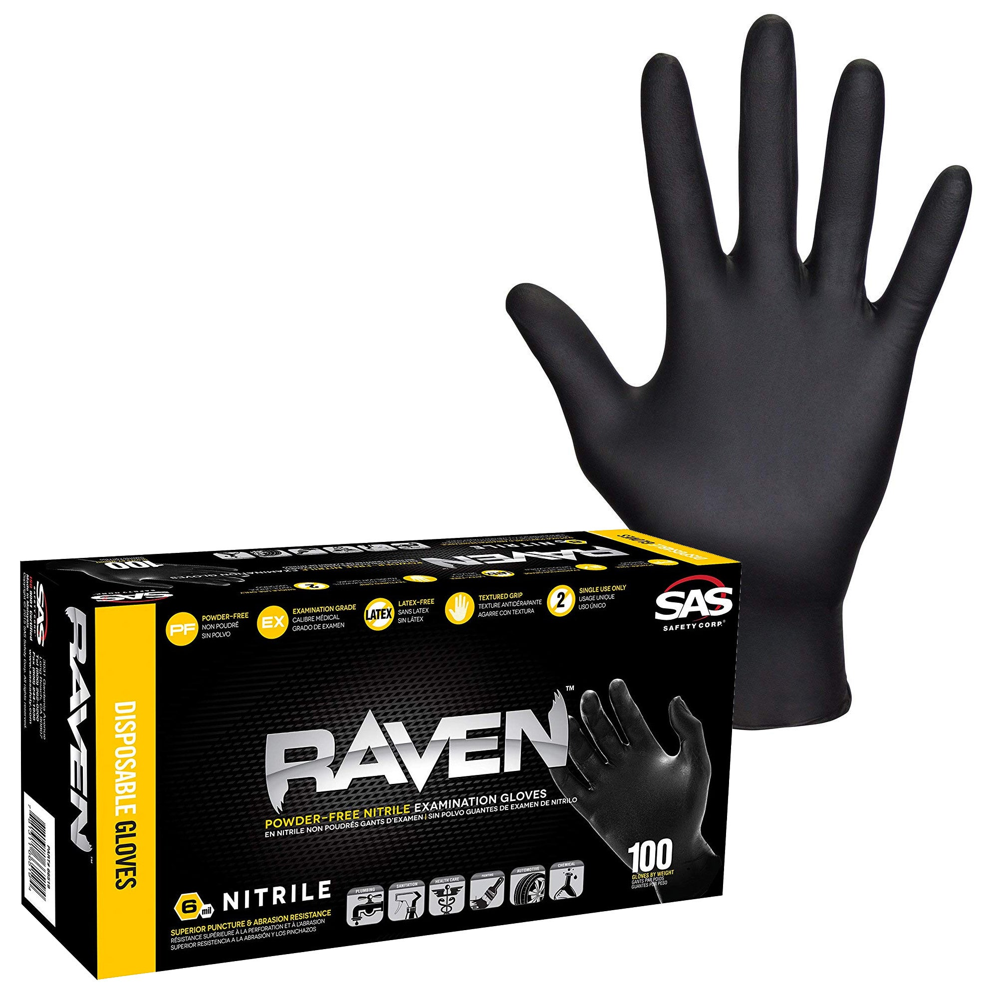 Raven Black Powder Free Nitrile Gloves (SAS-66517) (SAS-66518)