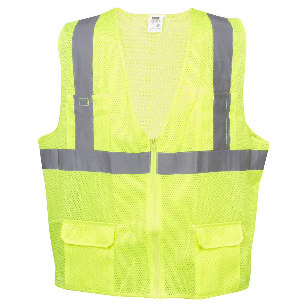 Cordova Safety Products VS271P COR-BRITE Type-R Class-2 Lime-Yellow Surveyors Safety Vest - Choose Size