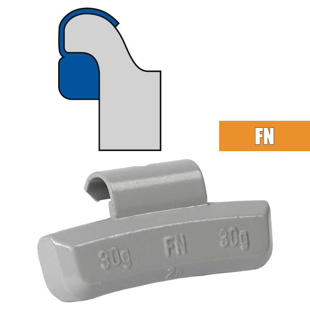 Plombco FN-Style Coated Zinc Clip-On Wheel Weights - Choose Size or Bulk Set