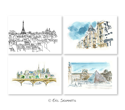 4 cartes PARIS Essentiels