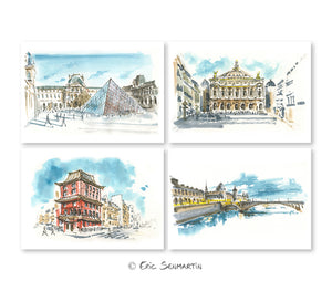 4 cartes PARIS Monuments